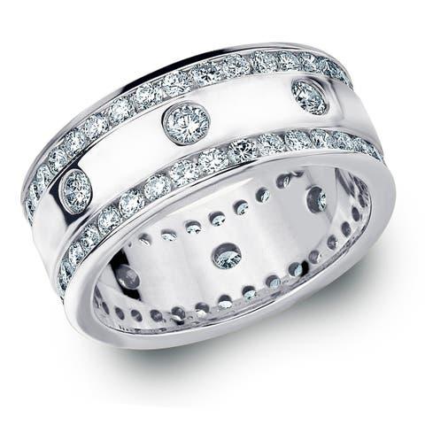 Amore 10KT White Gold 2CT TDW Diamond Eternity Railroad Ring