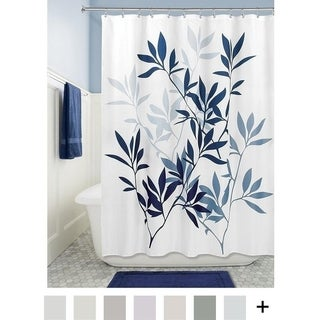 """Leaves Soft Fabric Shower Curtain, 72"""" x 72"""", Navy/Slate Blue"""