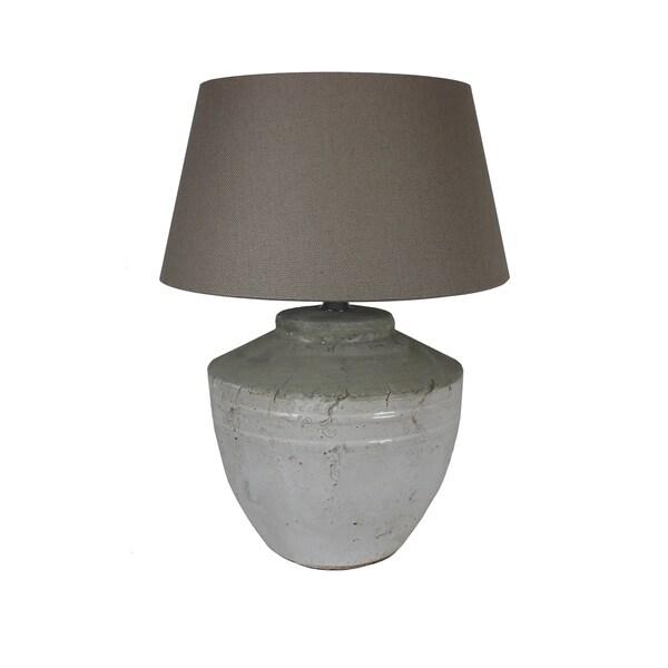 Urban Designs 22-Inch Antique Round Grey Wash Ceramic Table Lamp