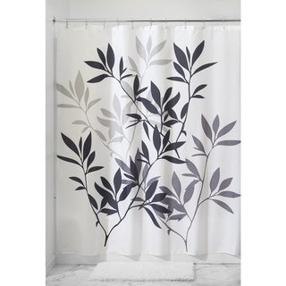 Leaves Fabric Shower Curtain, Black/Gray/White