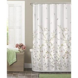 Garden Semi Sheer Fabric Shower Curtain