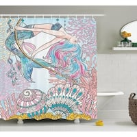 Mermaid Waterproof  Shower Curtain, Pink Blue