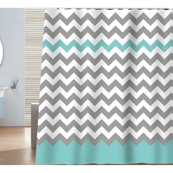 Designer Chevron Shower Curtain 72 x 72Inch GrayAruba Free