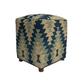"Sangat Evaleen Geometric Kilim Wool Upholstered Wood Ottoman (20"")"