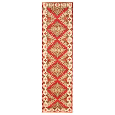 Handmade One-of-a-Kind Kazak Wool Runner (India) - 2'10 x 10'1