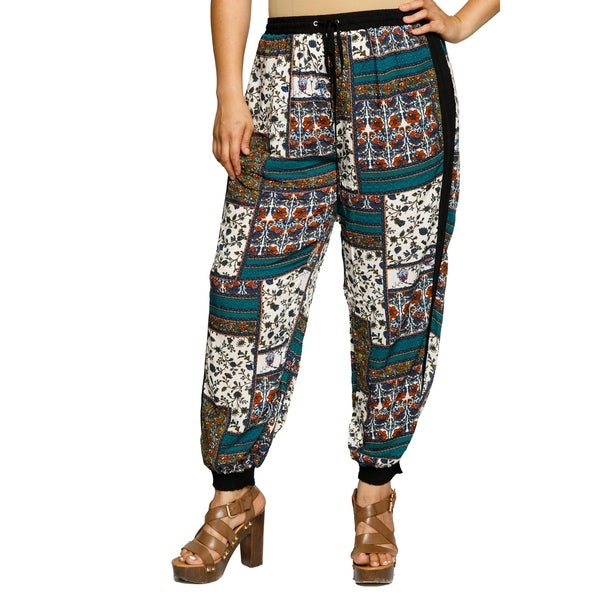 Xehar Womens Plus Size High Waisted Patchwork Printed Lounge Pants