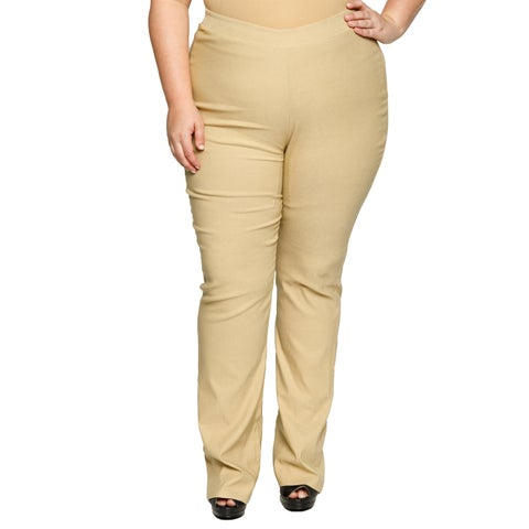 Xehar Womens Plus Size Side Zip Career Bootleg Trouser Relax Fit Pants