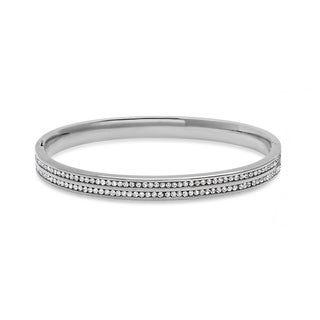Piatella Ladies Stainless Steel Double Layered Cubic Zirconia Bangle in 3 Colors