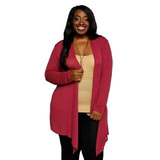 Xehar Womens Plus Size Casual Long Sleeve Open Front Asymmetrical Hem Cardigan Sweater