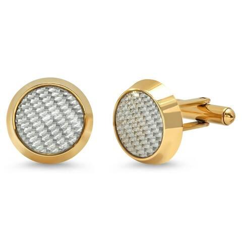 Steeltime Men's Gold Tone Stainless Steel Carbon Fiber Round Cufflinks