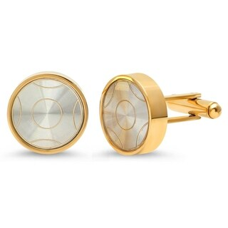 Steeltime Men's Gold Tone Stainless Steel Round Cufflinks with Accent