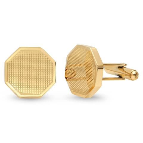 Steeltime Men's Gold Tone Stainless Steel Octagon Cufflinks