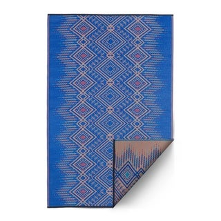 Fab Habitat Indoor/Outdoor Recycled Plastic Rug Jodhpur - Multi Blue (6' x 9') - 6' x 9'