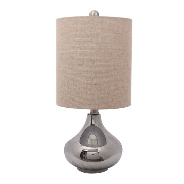 "Catalina Lighting Westbrook 19"" Glass Table Lamp, Silver Base"