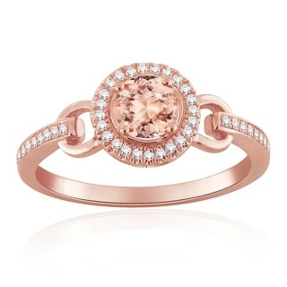 Auriya 1 2ct Morganite Gemstone And 1 8ctw Diamond Engagement Ring 10 Karat Rose Gold