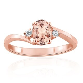 Auriya 10k Rose Gold 3/4ct Oval-Cut Morganite and 1/10ct TDW Diamond 3-Stone Engagement Ring