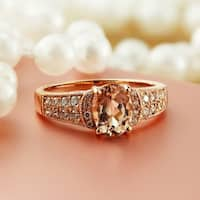 Auriya 10k Rose Gold Vintage Oval-Cut 1 1/5ct Morganite and 1/4ct TDW Diamond Engagement Ring