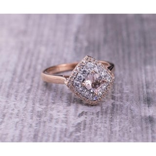 Auriya 10k Gold 3/4ct Cushion Morganite and 3/8ct TDW Diamond Halo Engagement Ring