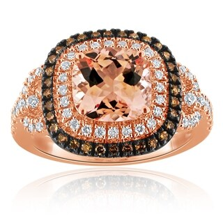 Auriya 10k Two-Tone Gold Cushion-Cut 2ct Morganite and 5/8ct TDW Diamond Halo Engagement Ring
