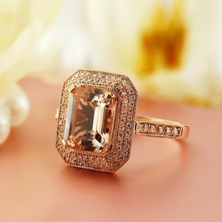 Auriya Vintage 2 3 4ct Emerald Cut Morganite 1 3ctw Halo Diamond Engagement Ring 10K Rose Gold