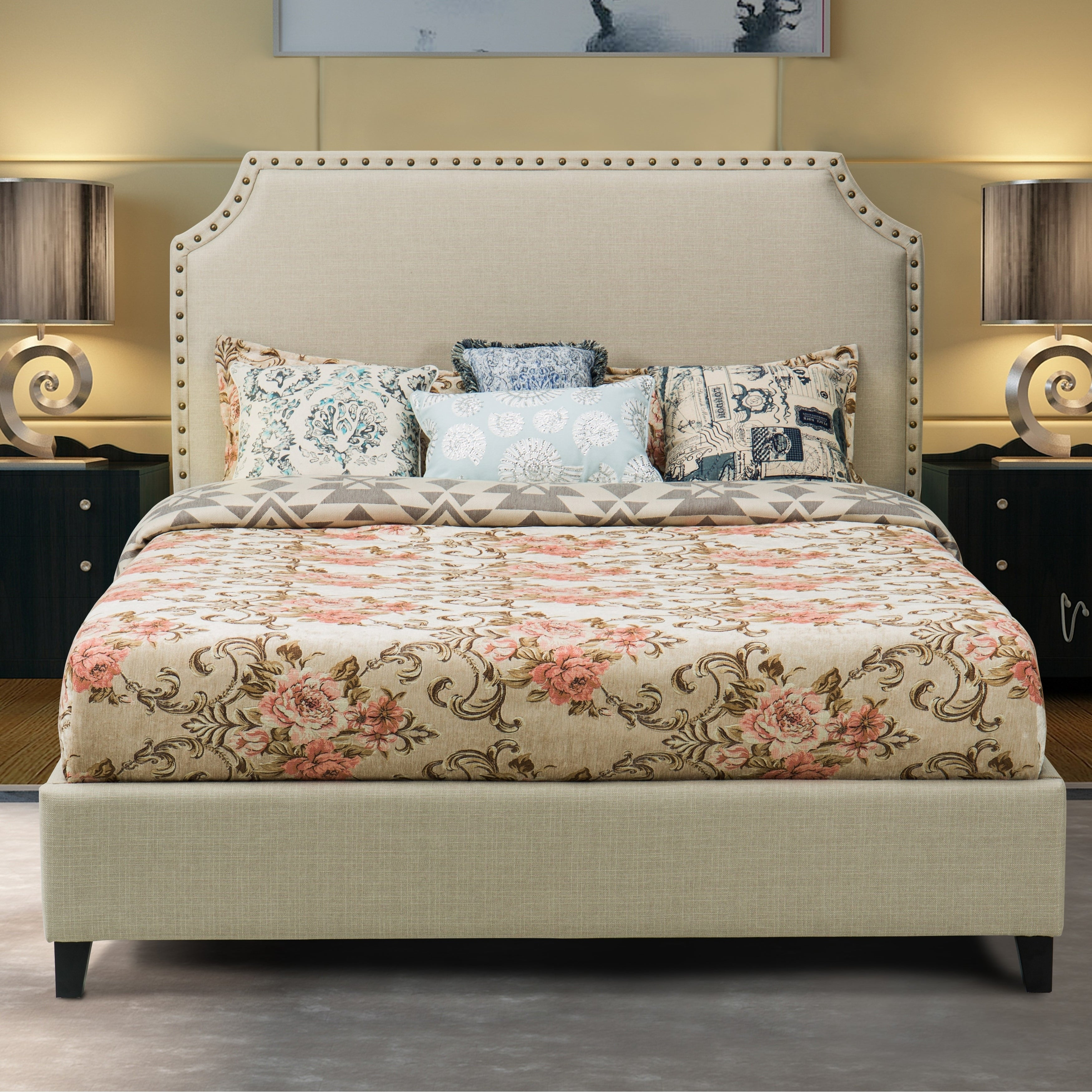 Shop Midtown Upholstered Platform Bed Beige On Sale Overstock 20165725 Queen Queen