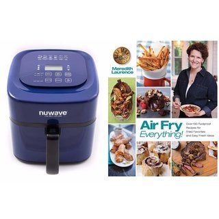 Nuwave 6 qt Brio Air Fryer-Blue with Air Fry Everything Cookbook