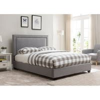 Baffin, Queen Size, Grey Linen Platform Bed