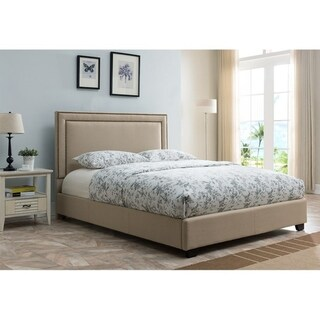 Baffin, Queen Size, Taupe Linen Platform Bed