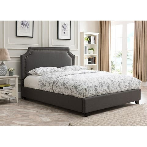 Brossard, King Size, Charcoal Upholstered Platform Bed