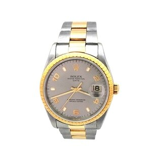 Pre-owned 34mm Rolex 18k Yellow Gold and Stainless Steel Oyster Perpetual Date Watch with Rhodium Dial