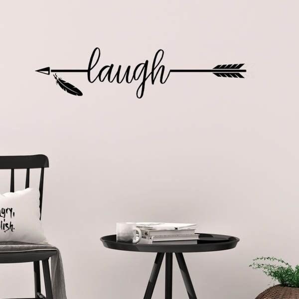 Laugh with Arrow Vinyl Wall Decal Wall Decor