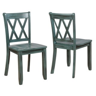 Vilnius Contemporary Wood Cross Back Dining Chair, Set of 2