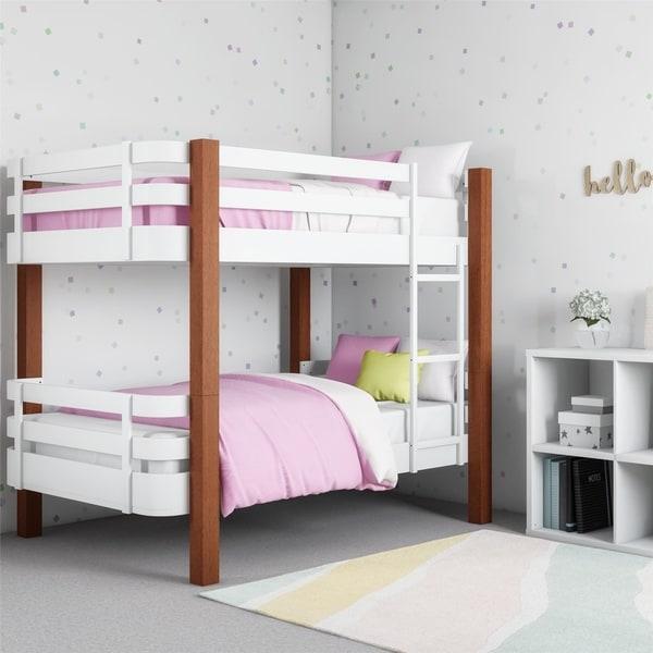 Shop Novogratz Birdie Dark Pine And White Bunk Bed On Sale Free