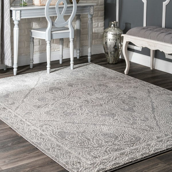 nuLOOM Transitional Faded Floral Medallion Grey Rug - 8' x 10'