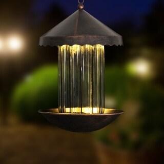 11 inch Solar Bronze Bird Feeder - Striped Glass Shape