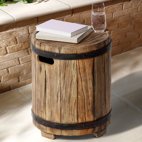 shop barrel outdoor patio side table free shipping today rh overstock com outdoor patio side table with seat cushion outdoor patio side table with umbrella hole