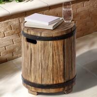 Barrel Outdoor Patio Side Table