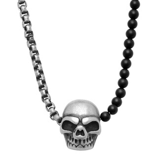 Minoxia Men's Black Lava Beaded and Stainless Steel Rounded Box Chain Necklace with Gunmetal Skull Pendant