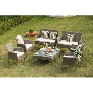 PATIO FESTIVAL ® 8 Piece Rattan Conversation Set with Cushions