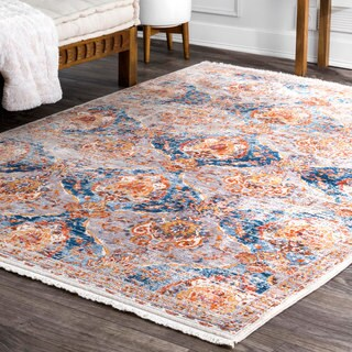 "nuLOOM Classical Damask Blue Area Rug (5' x 7' 9"")"