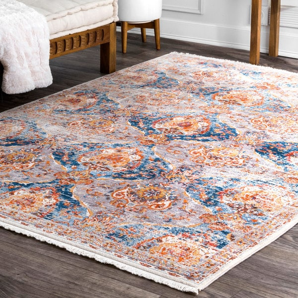 nuLOOM Classical Damask Blue Area Rug - 8' x 10'