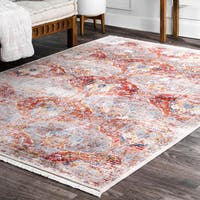 """nuLOOM Classical Damask Red Area Rug - 5' x 7' 9"""""""