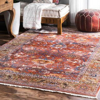 "nuLOOM Distressed Victorian Rust Area Rug (5' x 7' 9"") - 5' x 7'9"""