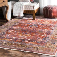 nuLOOM Rust Distressed Victorian Area Rug