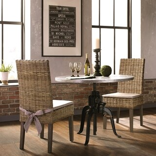 Rustic Industrial Style 3-piece Dining Set with Heavy Duty Hand Crank Adjustable Height Table