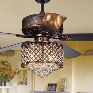 Pshita 3-light Crystal 5-blade 52-inch Rustic Bronze Ceiling Fan (Remote Optional) (2 options available)