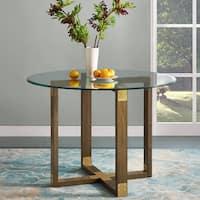 Avenue Greene Scarlett Rustic Oak Glass Top Dining Table