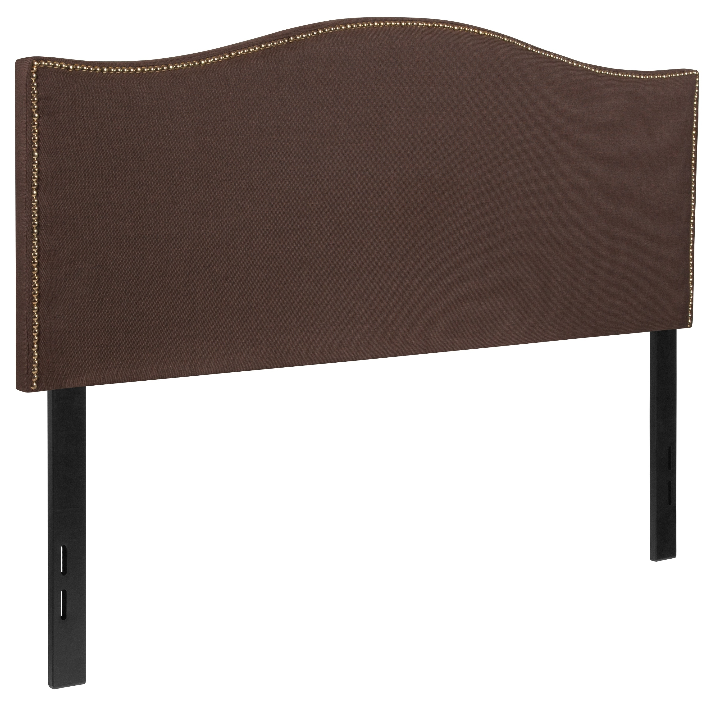 Regal Full Size Dark Brown Fabric Headboard With Nailhead Trim On Sale Overstock 20166723