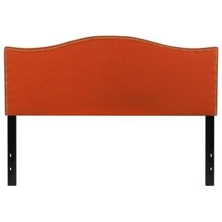 Regal Queen Size Orange Fabric Headboard with Nailhead Trim