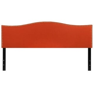 Regal King Size Orange Fabric Headboard with Nailhead Trim